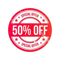50% Off Grunge Ribbon Stamp