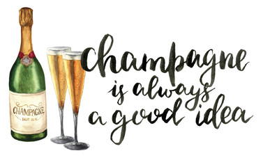 Watercolor bottle of champagne, wineglasses and lettering. Bottle of sparkling wine with glasses and Champagne is always a good idea. Party illustration for design, print or background.