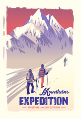 Vector poster mountain climbing