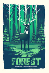 Vector poster with a deer in the woods