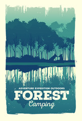 Vector poster landscape forest silhouette