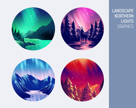 Set abstract circle vector landscape northern lights
