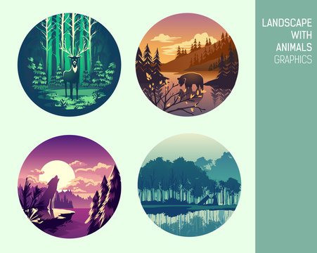 Set abstract circle vector landscape with animals graphics