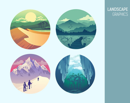 Set abstract circle vector landscape graphics
