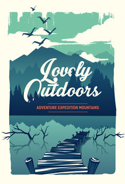 Vector poster lovely outdoors