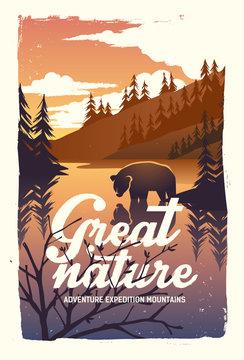 Vector poster a bear river mountains
