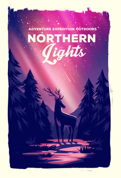 Vector poster landscape northern lights with deer