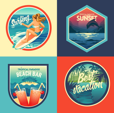 Set of summer adventure labels and badges