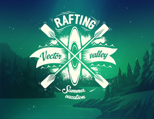 Rafting typography design on vector background