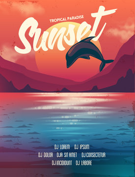 Summer vector poster sunset with dolphin