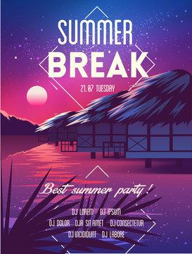 Summer vector poster beach party pink
