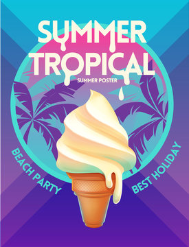 Summer  tropical vector poster