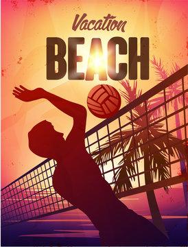 Summer vector poster vacation beach