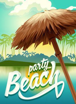 Sunny vector poster beach party