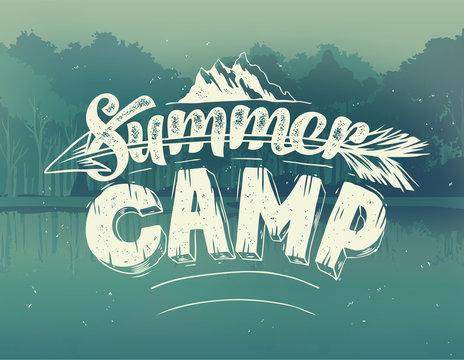 Summer typography design on vector background
