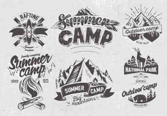 Set outdoor camp typography design label