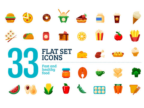 Flat set icons. Fast and healthy food.