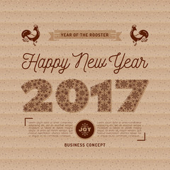 2017 numbers lettering of snowflakes, Happy New Year card on kraft paper, Chinese Zodiac Year of the Rooster 2017. Minimal design, corporate branding business style greeting flyer. Vector isolated