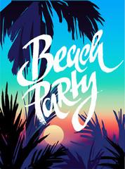 Summer vector poster beach party blue palm