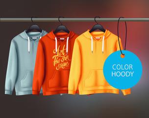 Color vector unisex hoody design template.