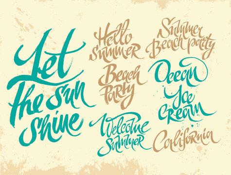 Summer lettering. Let the sun shine. Hello summer. Ocean. Beach