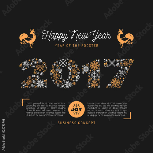 vector 2017 numbers lettering of snowflakes trendy happy new year card chinese zodiac year