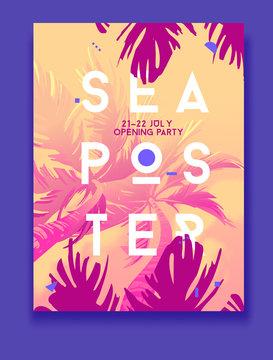 Summer Night Party Vector Flyer Template. Modern stile. Sea post
