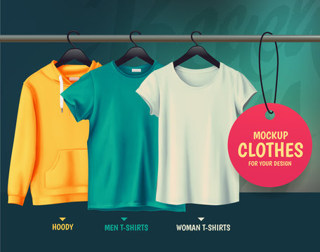 Mockup clothes for your design.Hoody. Men t-shirts. Woman t-shir