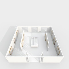3d interior rendering of white exhibition room