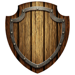 Oaken shield of the warrior with the metal studs