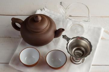 tea set on wooden background