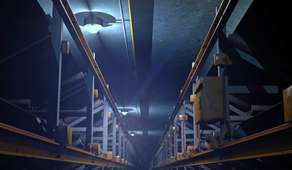 3D illustration of a conveyor in an underground mine tunnel. Fictitious conveyor assembly; lens flare and motion blur for dramatic effect.