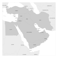 Map of Middle East or Near East transcontinental region with highlighted Western Asia countries, Turkey, Cyprus and Egypt. Flat grey map with country thin black borders.