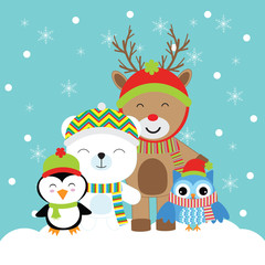 Christmas illustration with cute deer, penguin, bear, and owl suitable for Xmas greeting card, postcard, and wallpaper