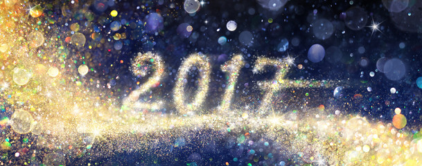 Happy New Year 2017 - Glittering With Golden Dust