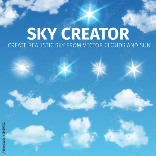 Sky creator  Set realistic clouds and sun  Vector