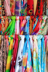Colorful scarf pattern at traditional street market, China