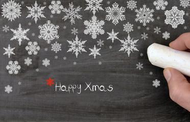 Happy xmas with snow flakes