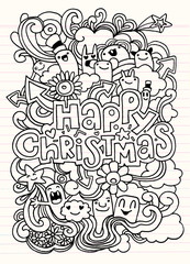 Hand drawn Christmas icon's set doodle,Vector illustration
