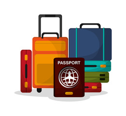 Baggage and passport icon. Airport travel trip vacation and tourism theme. Colorful design. Vector illustration