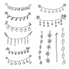Doodle set bunting and garlands for decorations. Flags ,heart,fl