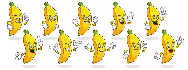 Banana mascot, Vector set of banana characters. Banana logo