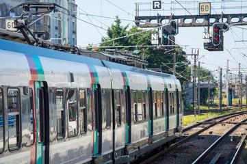 Modern speed passenger train on railways station.