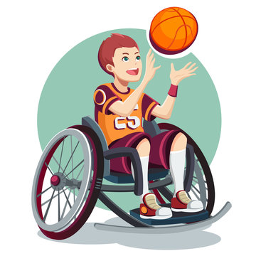 Isometric Paralympic sports for peoples with disabled activity. Child. Vector illustration