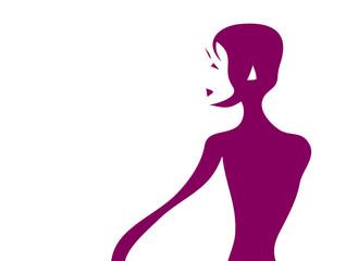 Upper body silhouette of a female ballet dancer