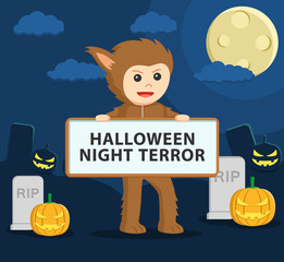 werewolf costume in holding sign
