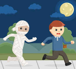 mummy costume chasing other man