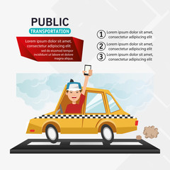 Taxi vehicle and man with smartphone icon. transportation travel and trip theme. Colorful design. Vector illustration