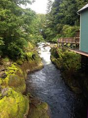 Scene of historical Creek Street, Ketchikan Alaska.