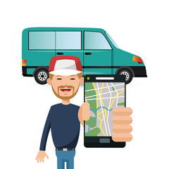 Car vehicle and man with smartphone icon. transportation travel and trip theme. Colorful design. Vector illustration